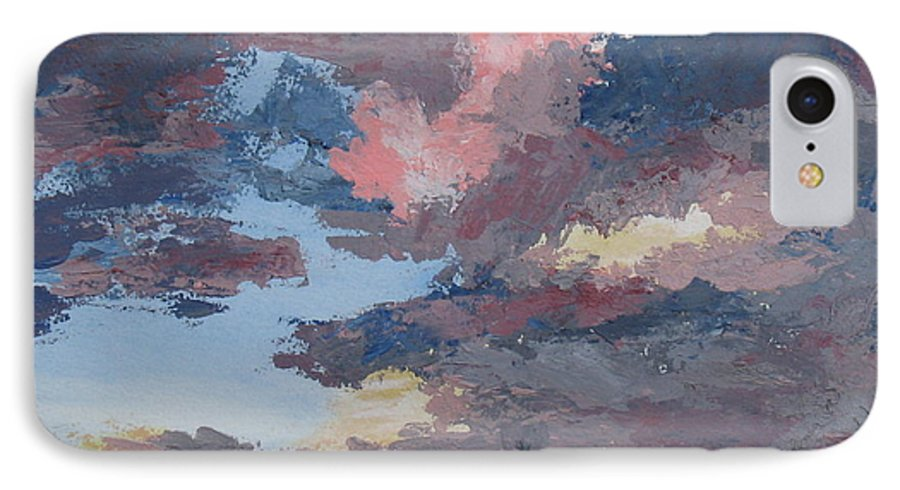 Stormy Sky IPhone 7 Case featuring the painting Storm A Brewin by Janis Mock-Jones