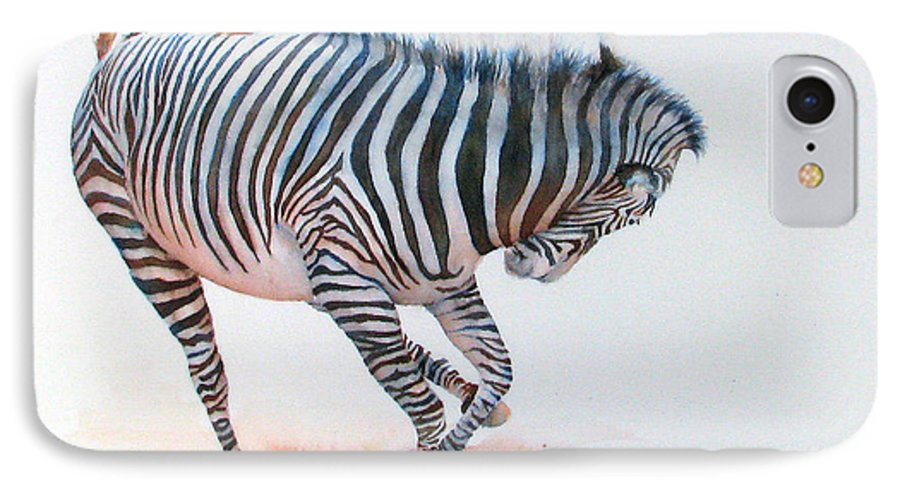 Zebra IPhone 7 Case featuring the painting Stripes IIi by Patricia Henderson