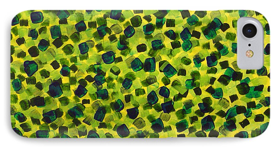Abstract IPhone 7 Case featuring the painting Sunlight Through The Trees 2 by Dean Triolo