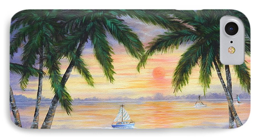 Seascape IPhone 7 Case featuring the painting Summer Sunset by Ruth Bares