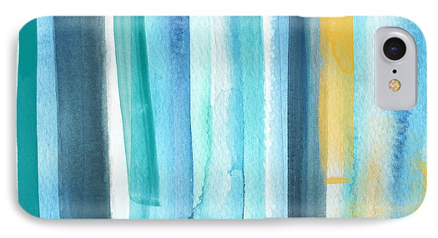 Water IPhone 7 Case featuring the painting Summer Surf- Abstract Painting by Linda Woods