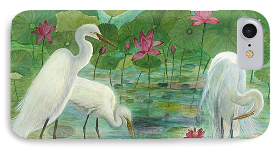 Lily Pads; Egrets; Low Country IPhone 7 Case featuring the painting Summer Trilogy by Ben Kiger