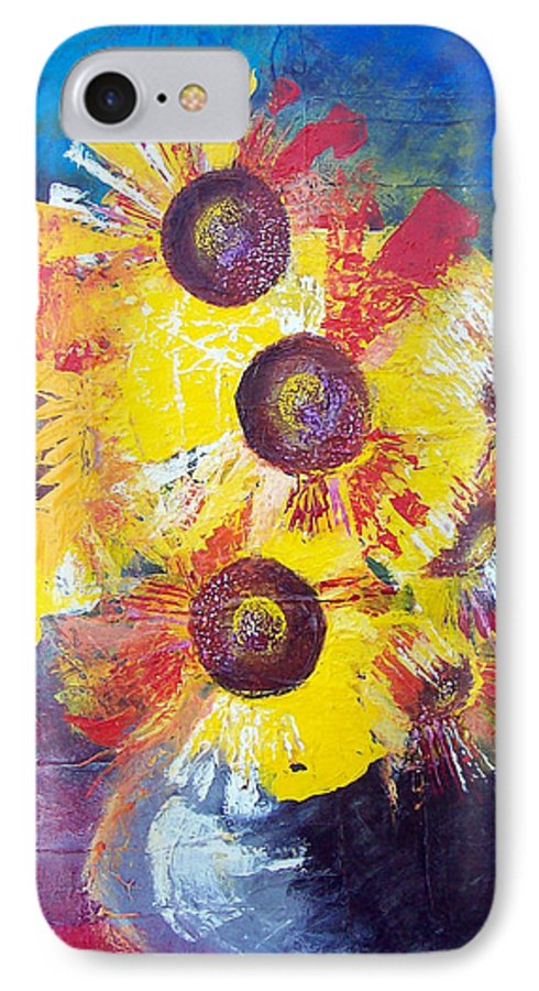 Flowers IPhone 7 Case featuring the painting Sunflowers In Blue Vase by Valerie Wolf