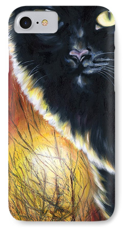 Cat IPhone 7 Case featuring the painting Sunset by Hiroko Sakai