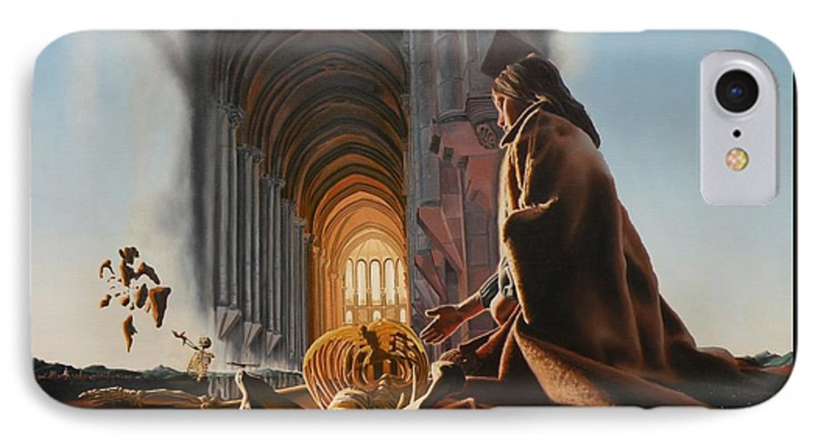 Surreal IPhone 7 Case featuring the painting Surreal Cathedral by Dave Martsolf