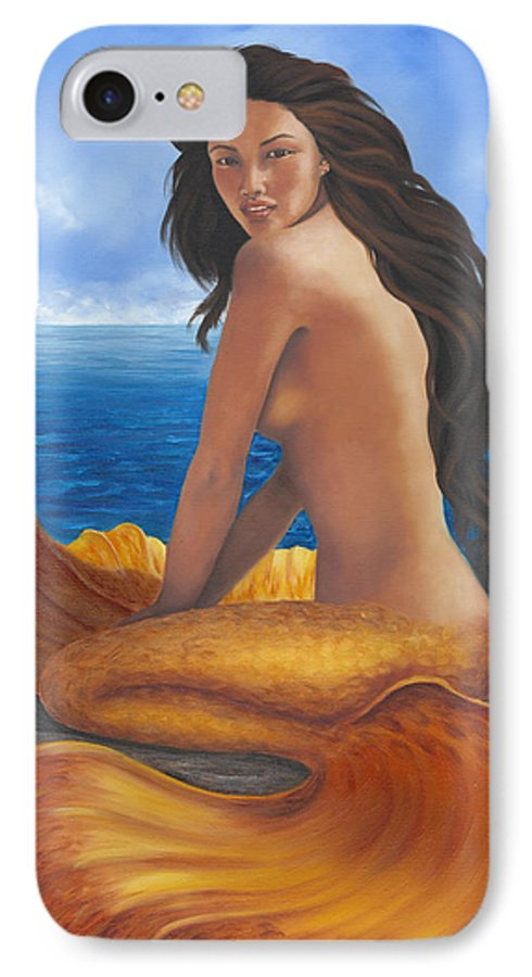Tropical Mermaid IPhone 7 Case featuring the painting Tale Of Paradise by Brenda Ellis Sauro