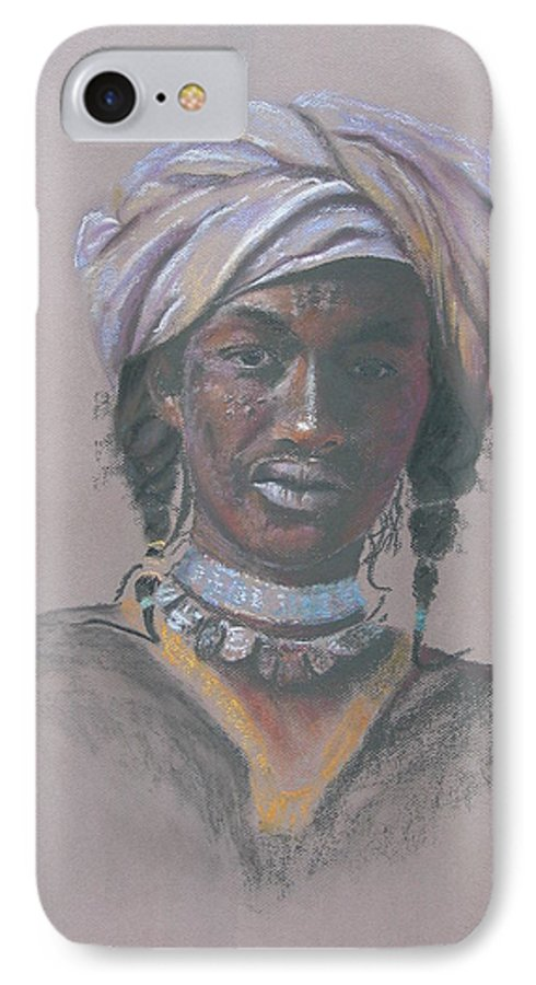 Portrait IPhone 7 Case featuring the painting Tchad Warrior by Maruska Lebrun
