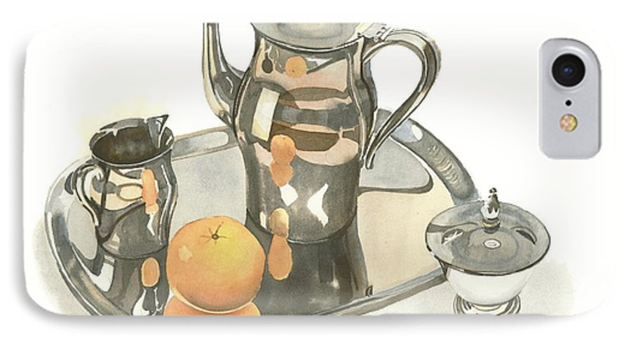Tea Service With Orange IPhone 7 Case featuring the painting Tea Service With Orange by Kip DeVore