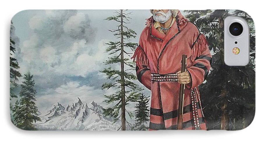Landscape IPhone 7 Case featuring the painting Terry The Mountain Man by Wanda Dansereau