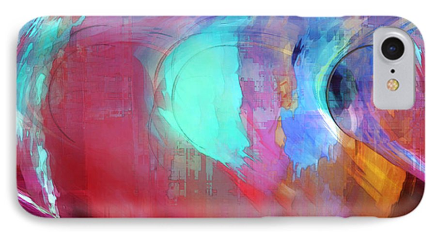Abstract IPhone 7 Case featuring the digital art The Afterglow by Linda Sannuti