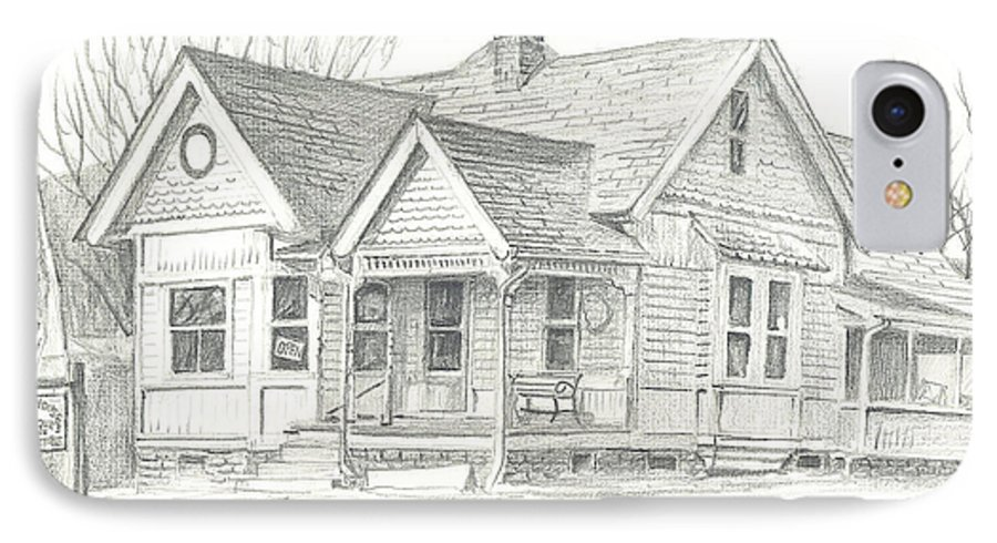 The Antique Shop IPhone 7 Case featuring the drawing The Antique Shop by Kip DeVore