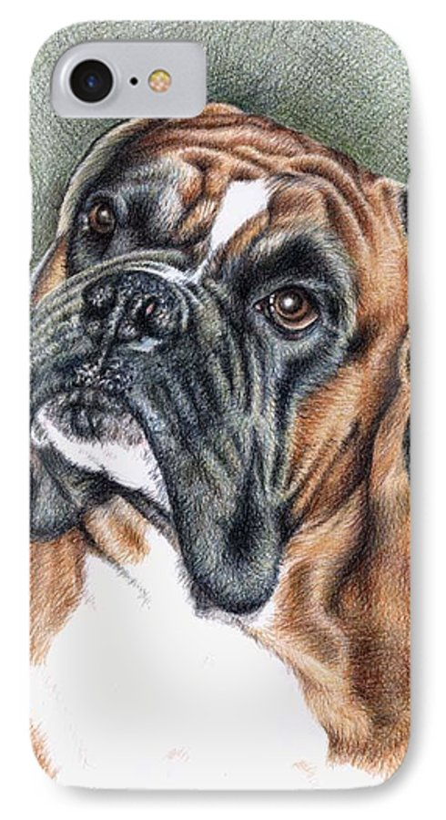 Dog IPhone 7 Case featuring the drawing The Boxer by Nicole Zeug