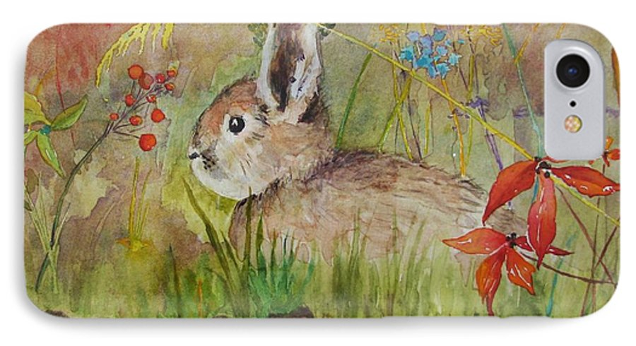 Nature IPhone 7 Case featuring the painting The Bunny by Mary Ellen Mueller Legault
