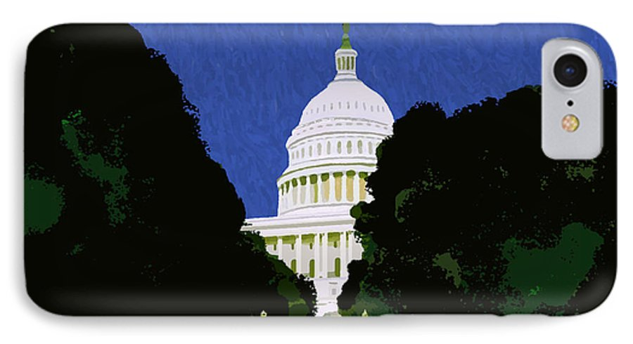 Capitol IPhone 7 Case featuring the painting The Capitol by Pharris Art