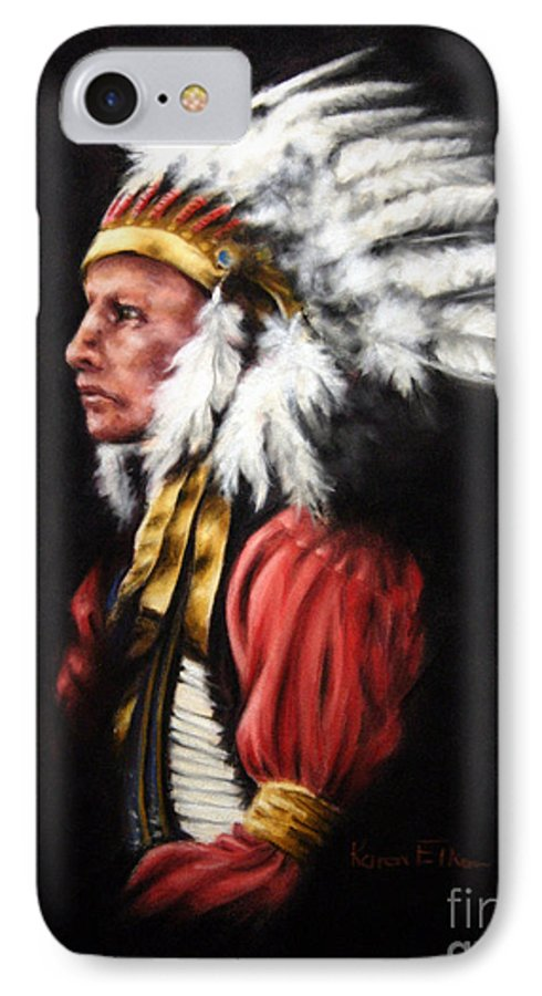 Native American IPhone 7 Case featuring the pastel The Chief 2 by Karen Elkan