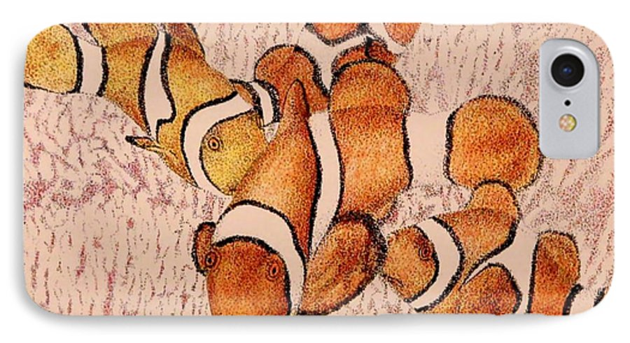 Fish Aquarium Seascape Coral Clownfish Ocean IPhone 7 Case featuring the drawing The Clowns by Tony Ruggiero