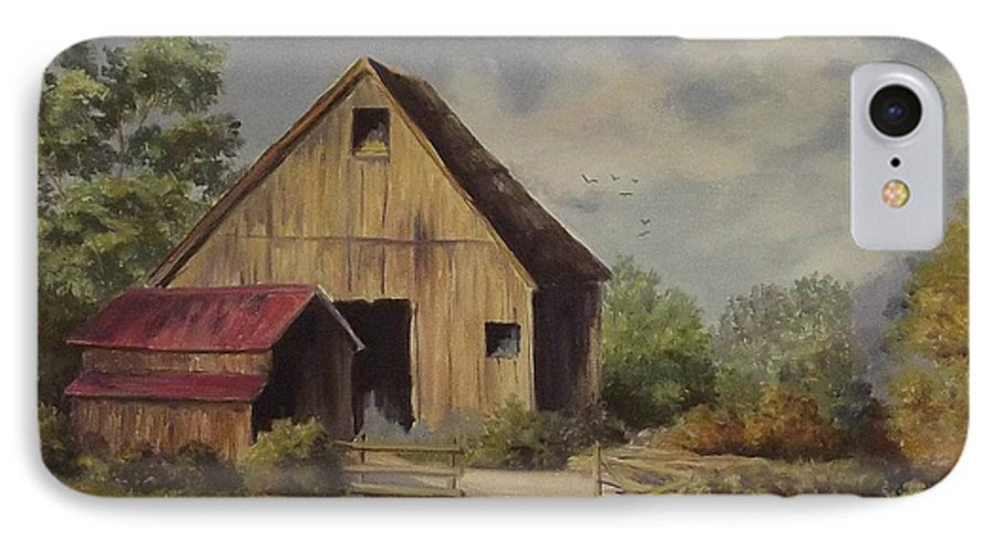 Landscape IPhone 7 Case featuring the painting The Deserted Barn by Wanda Dansereau