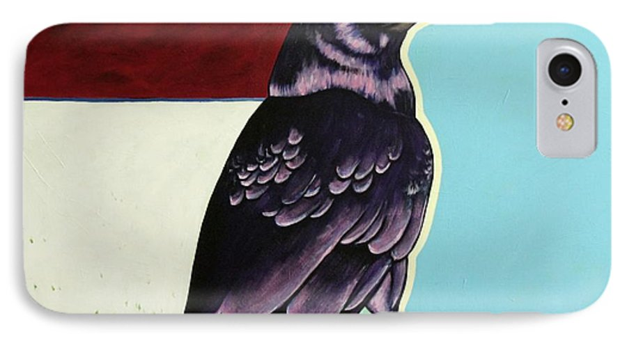 Wildlife IPhone 7 Case featuring the painting The Gossip - Raven by Joe Triano