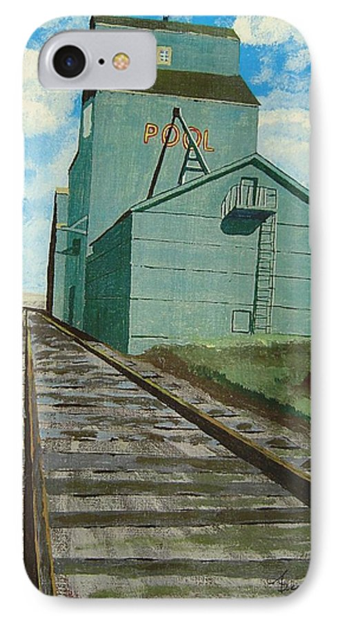 Elevator IPhone 7 Case featuring the painting The Grain Elevator by Anthony Dunphy