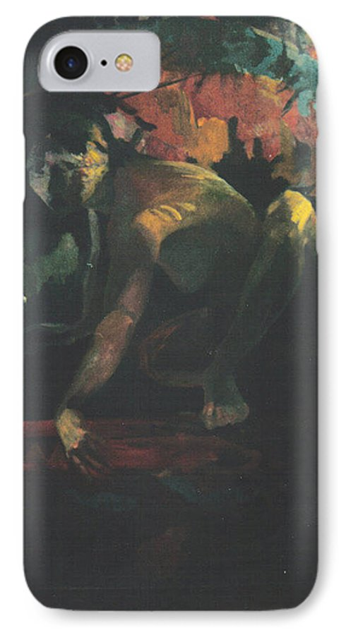 Figure IPhone 7 Case featuring the painting The Hot Tub by John L Campbell