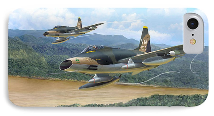 Aviation IPhone 7 Case featuring the painting The Hun - F-100 Super Sabres In Vietnam by Mark Karvon