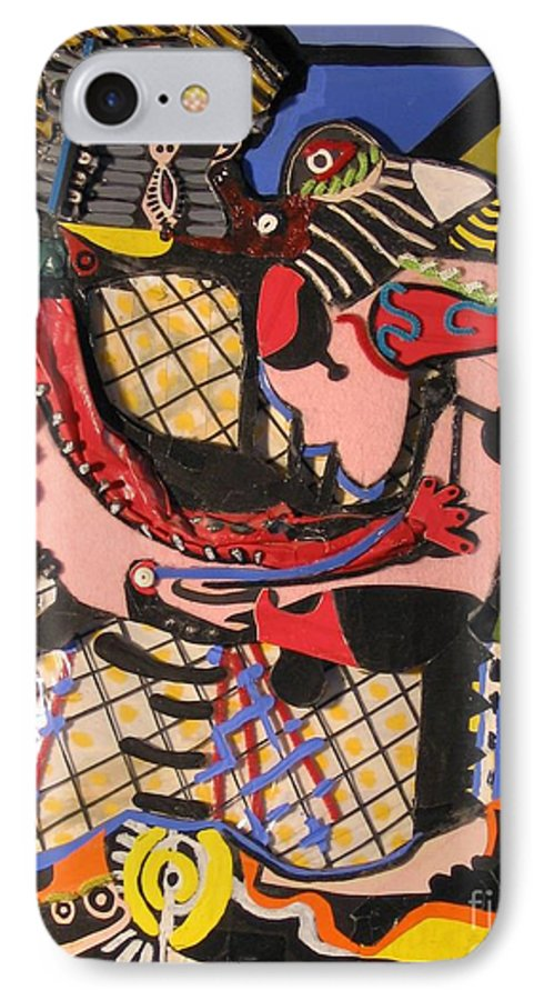 Abstract IPhone 7 Case featuring the mixed media The Kiss Aka The Embrace After Picasso 1925 by Mack Galixtar