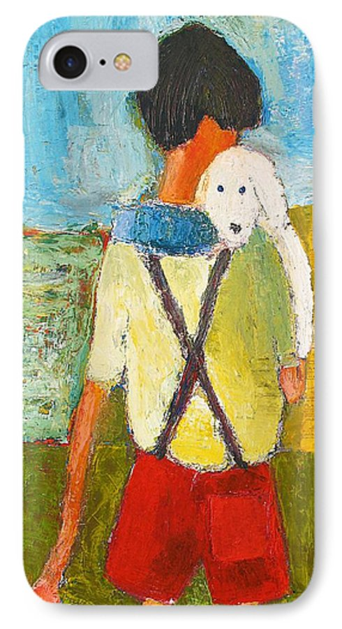 Abstract IPhone 7 Case featuring the painting The Little Puppy by Habib Ayat