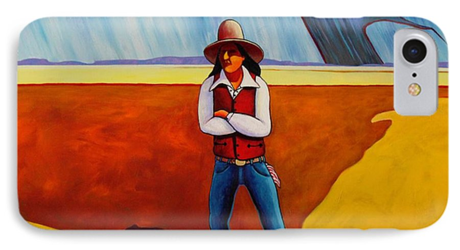 Native American IPhone 7 Case featuring the painting The Logic Of Solitude by Joe Triano