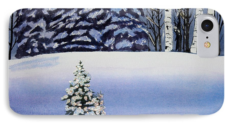 Christmas IPhone 7 Case featuring the painting The Lone Christmas Tree by Patricia Novack