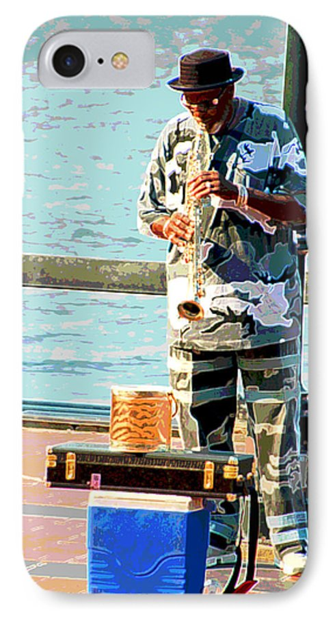 Soprano Saxophone IPhone 7 Case featuring the photograph The Music Man by Suzanne Gaff