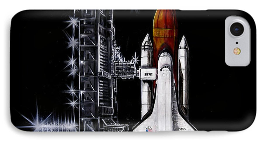 Shuttle IPhone 7 Case featuring the painting The Night Before by Murphy Elliott