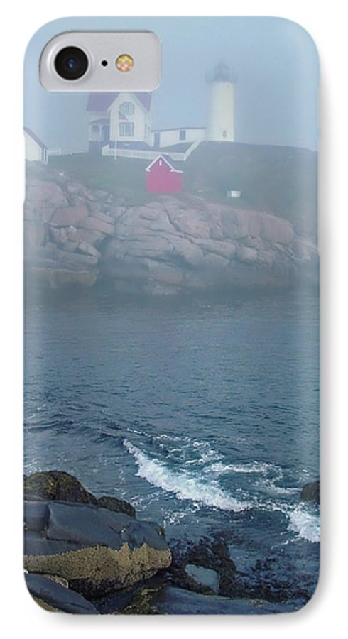 Nubble Lighthouse IPhone 7 Case featuring the photograph The Nubble Lighthouse At York Maine by Suzanne Gaff