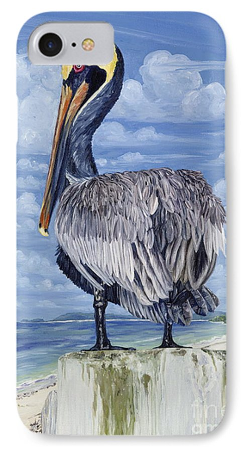 Seascape IPhone 7 Case featuring the painting The Pelican Perch by Danielle Perry