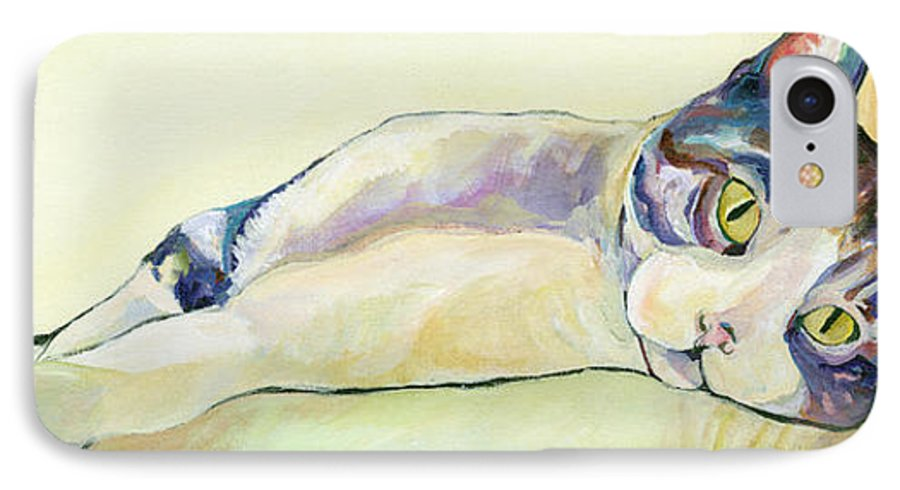 Pat Saunders-white Canvas Prints IPhone 7 Case featuring the painting The Sunbather by Pat Saunders-White