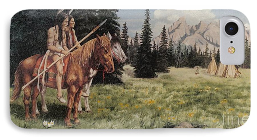 Landscape IPhone 7 Case featuring the painting The Tetons Early Tribes by Wanda Dansereau