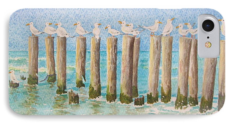 Seagulls IPhone 7 Case featuring the painting The Town Meeting by Mary Ellen Mueller Legault