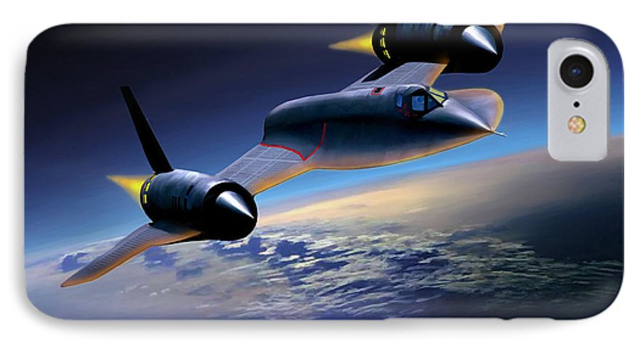 Airplane IPhone 7 Case featuring the painting The Untouchable Sr-71 Blackbird by Mark Karvon