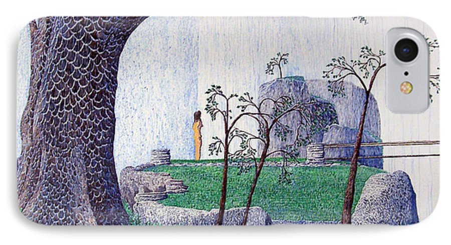 Landscape IPhone 7 Case featuring the painting The Yearning Tree by A Robert Malcom