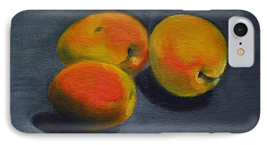 Food IPhone 7 Case featuring the painting Three Apricots by Sarah Lynch