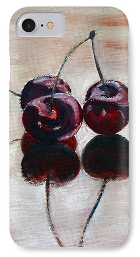 Food IPhone 7 Case featuring the painting Three Cherries by Sarah Lynch