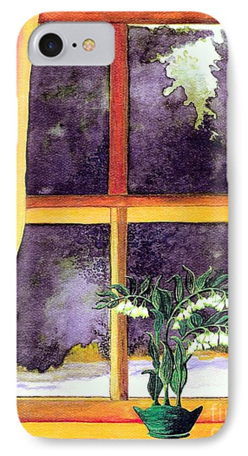Fine Art IPhone 7 Case featuring the painting Through The Window by Patricia Griffin Brett