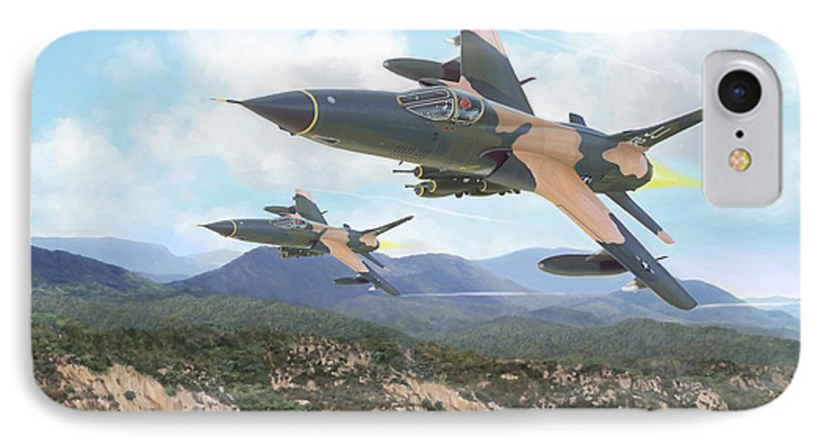 F-105 Thunderchief IPhone 7 Case featuring the painting Thuds Bringin' It Downtown by Mark Karvon