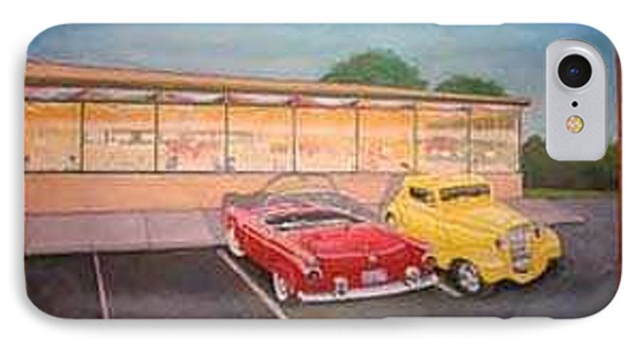 Rick Huotari IPhone 7 Case featuring the painting Times Past Diner by Rick Huotari