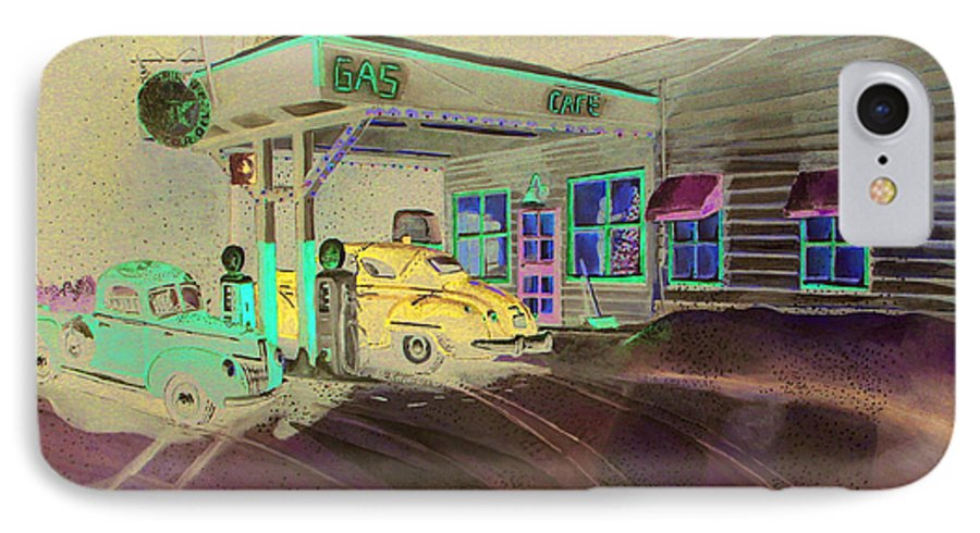 Rick Huotari IPhone 7 Case featuring the painting Times Past Gas Station by Rick Huotari