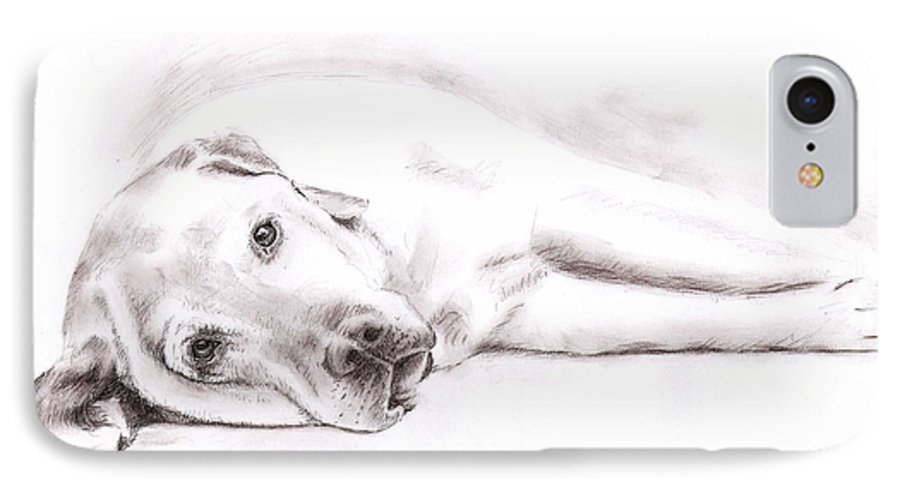 Dog IPhone 7 Case featuring the drawing Tired Labrador by Nicole Zeug
