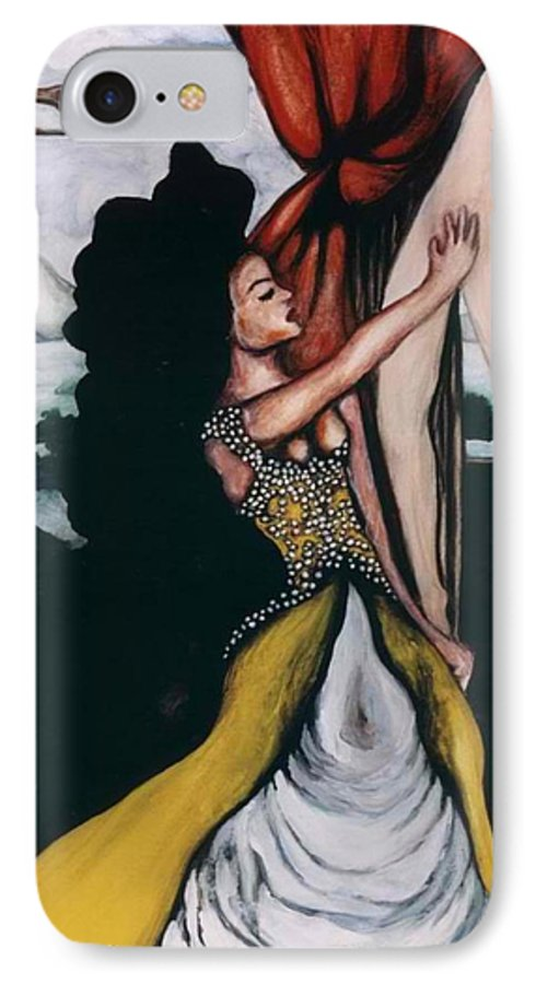 To Have And To Hold IPhone 7 Case featuring the painting To Have And To Hold  Mourning The Loss Of A Lover by Ayka Yasis