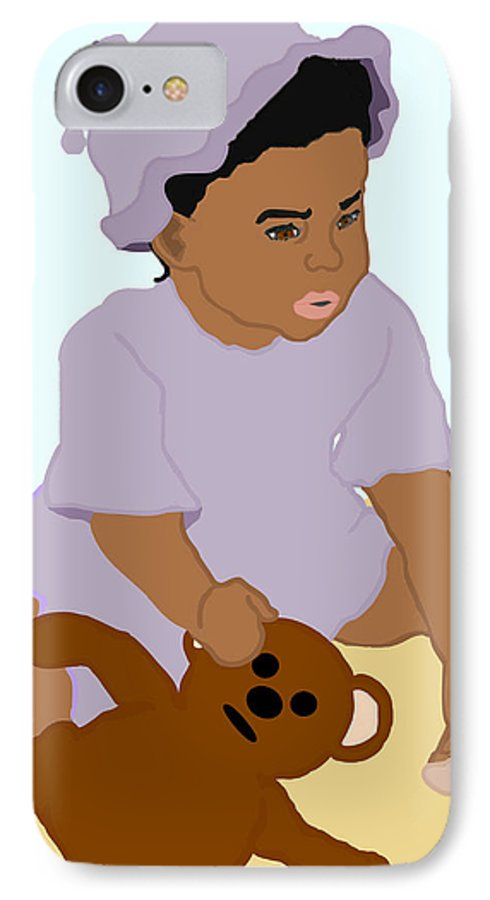 Toddler IPhone 7 Case featuring the painting Toddler And Teddy by Pharris Art