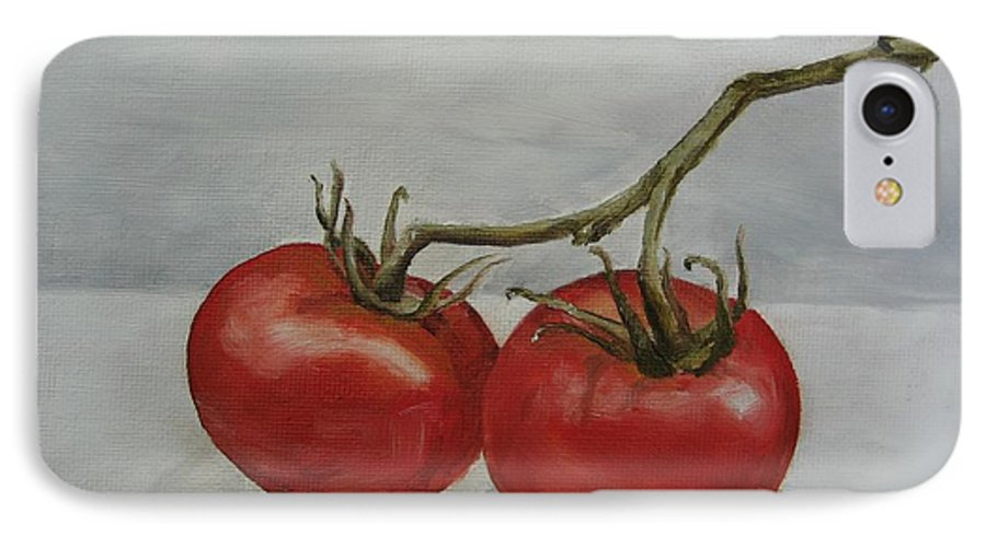 Oil IPhone 7 Case featuring the painting Tomatoes On Vine by Jindra Noewi