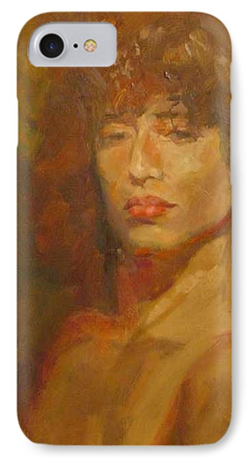 Portrait IPhone 7 Case featuring the painting Tracy by Irena Jablonski