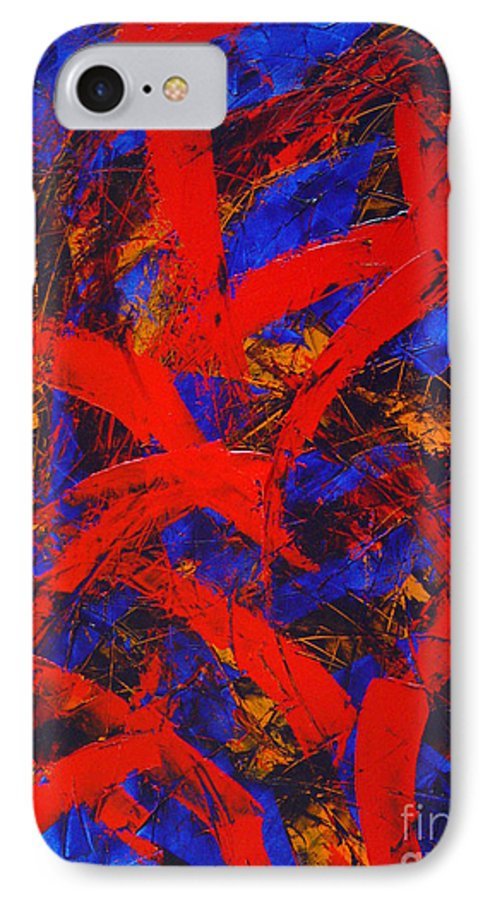 Abstract IPhone 7 Case featuring the painting Transitions With Blue And Red by Dean Triolo